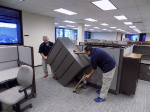 Installation of file cabinet